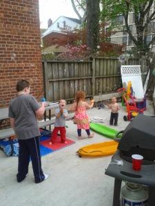 Our little backyard has been useful,